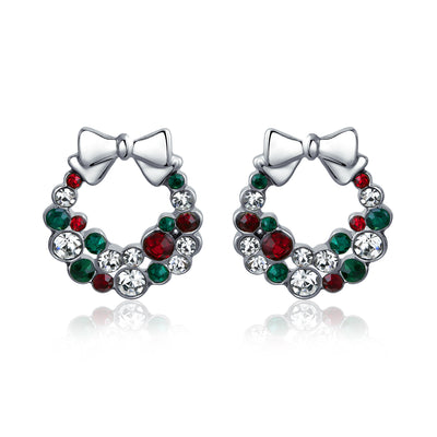 Bow Red Green White Crystal Wreath Stud Earrings Crystal Silver Plated