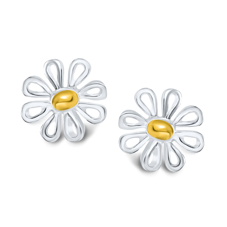 Daisy Flower Stud Earrings Two Tone Gold Plated Sterling Silver