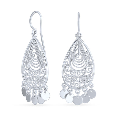 Boho Style Dangling Coin Disc Chandelier Earring 925 Sterling Silver