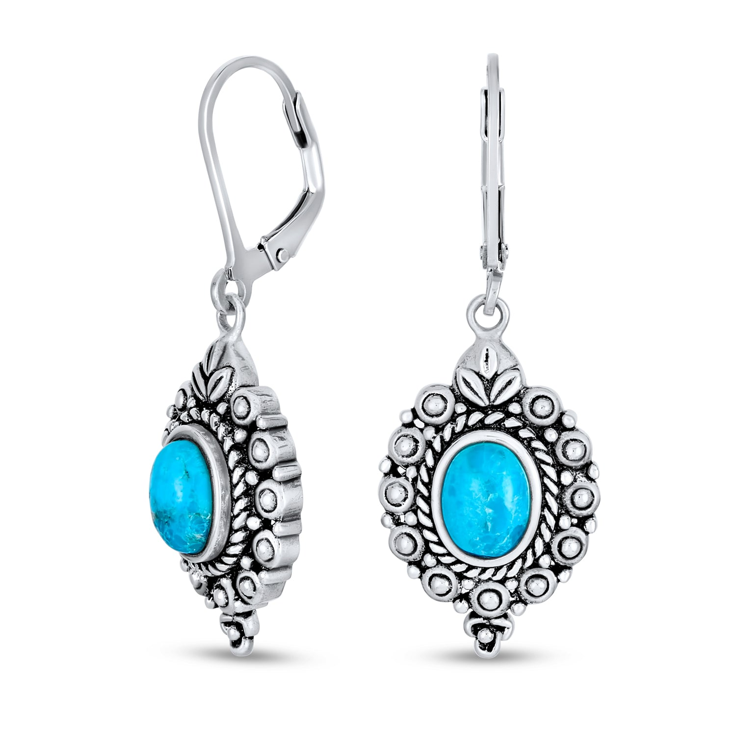 Turquoise and Sterling Silver Clover Earrings Gift for Woman