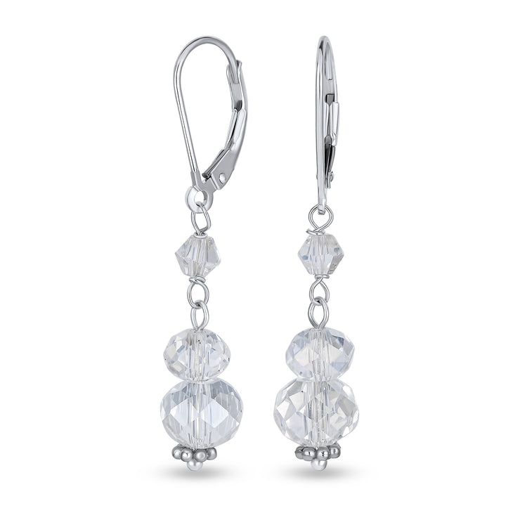 Long Crystal Rondelle Drop Leverback Earrings 925 Sterling Silver