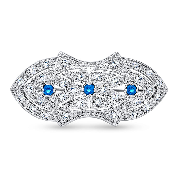 Art Deco Style Brooch Pin For Women Blue Clear CZ Imitation Sapphire
