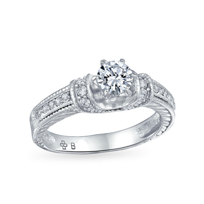 1CT Solitaire U set 6 Prong AAA CZ Engagement Ring 925 Sterling Silver
