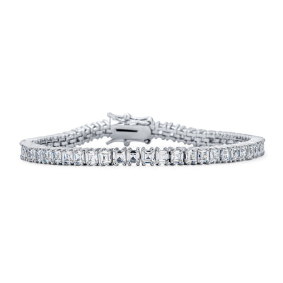 Square Asscher Cut CZ Channel Set Tennis Bracelet Brides Silver Plated