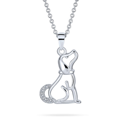 Loyal Puppy Pet Dog Necklace BFF Best Friend CZ Silver Tone Necklace