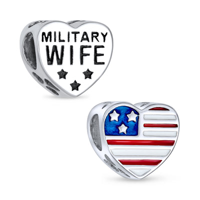 Heart Shape American Patriotic USA Flag Words Military Wife Charm Bead