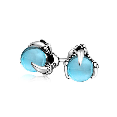 Orb Dragon Claw Blue Ball Stud Earrings Silver Tone Stainless Steel