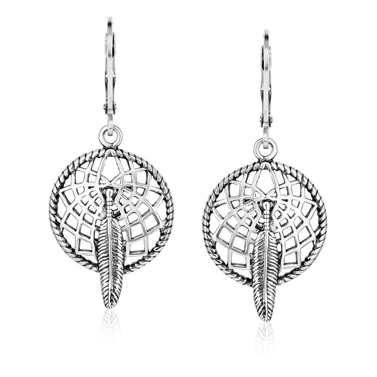 Native American Style Feather Dream Catcher Earrings Sterling Silver