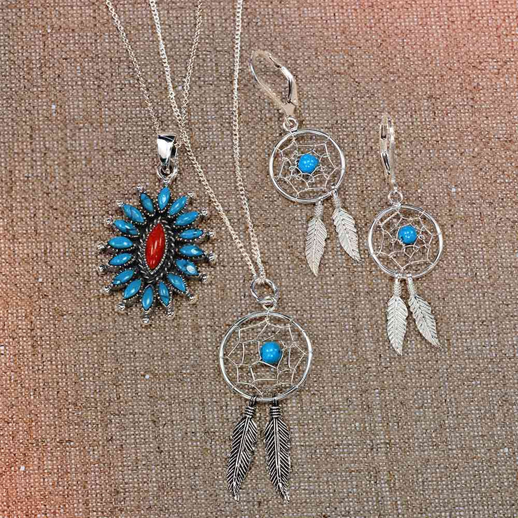 Native Style Dream Catcher Turquoise Feathers Pendant Necklace Silver