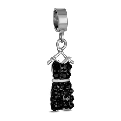 Crystal Little Black Dress Dangle Charm Bead 925 Sterling Silver