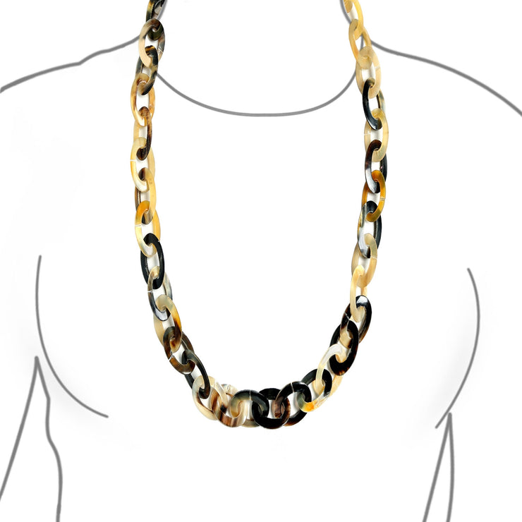 Earth Tone Brown Hand made Buffalo Horn Long Oval Chain Necklace