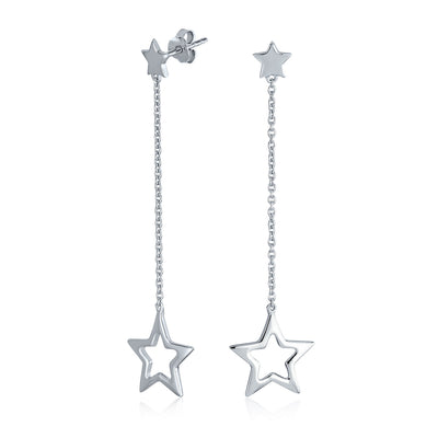 Celestial Patriotic USA Rock Star Chain Earrings 925 Sterling Silver