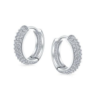 3 Three Row Cubic Zirconia Pave CZ Huggie Hoop Earrings Silver Plated