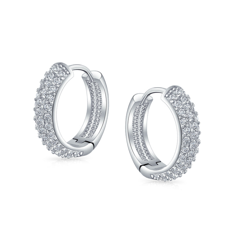 3 Three Row Cubic Zirconia Pave CZ Hoop Earrings Silver Plated