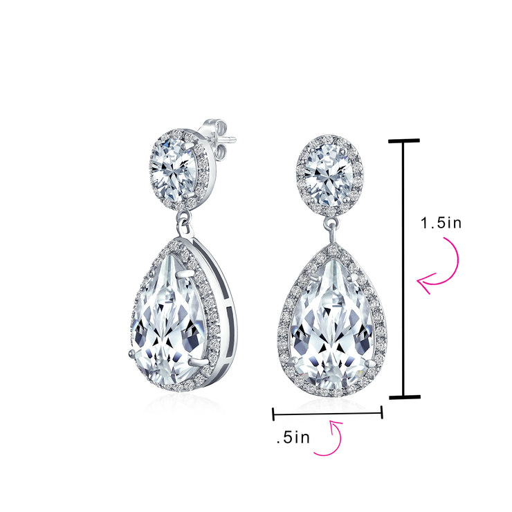 Prom Statement Teardrop Pave CZ Halo Dangle Earring Silver Plated