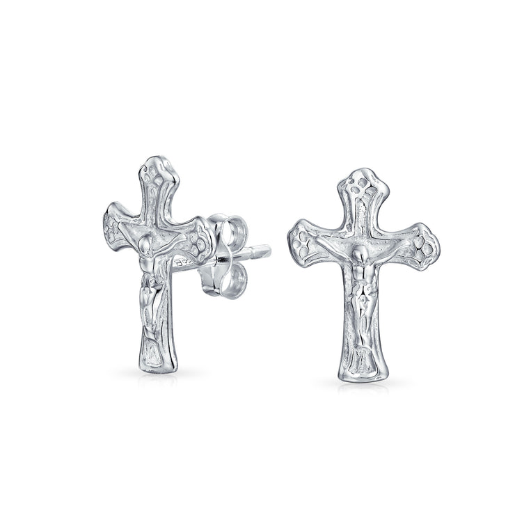 Catholic Crucifix Cross Stud Earrings Communion 925 Sterling Silver