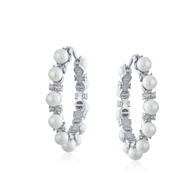 White  Simulated Pearl Prom Pageant Statement Hoop Earrings Silver Plated