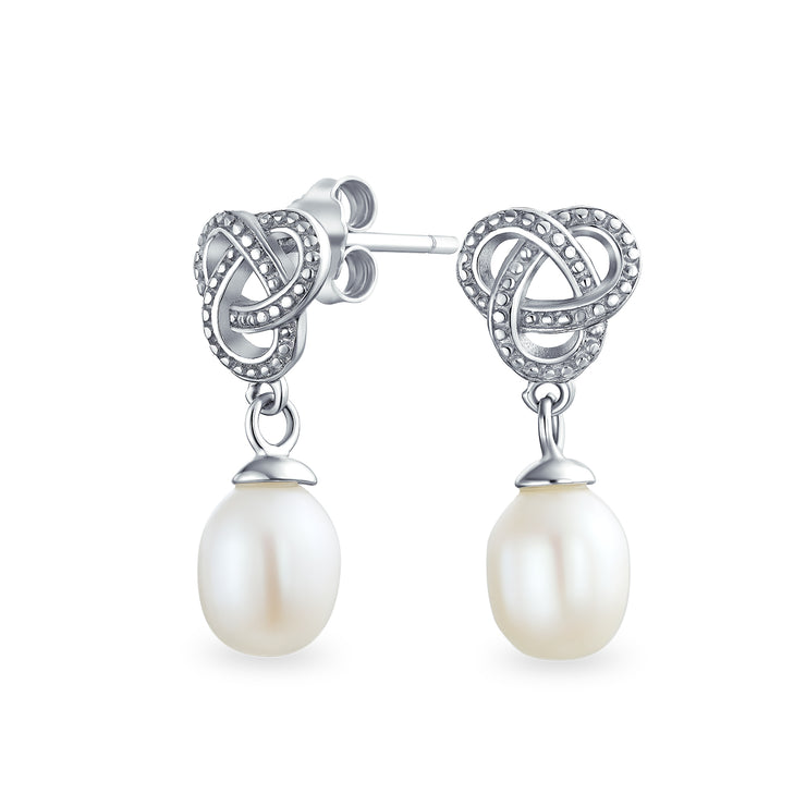 Bridal White Teardrop Dangle Imitation Pearl Earrings Sterling Silver
