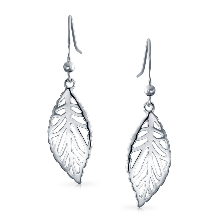 Boho Native Leaf Feather Dangle Earrings Filigree 925 Sterling Silver