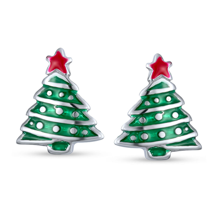 Winter Red Green Christmas Tree Stud Earrings 925 Sterling Silver
