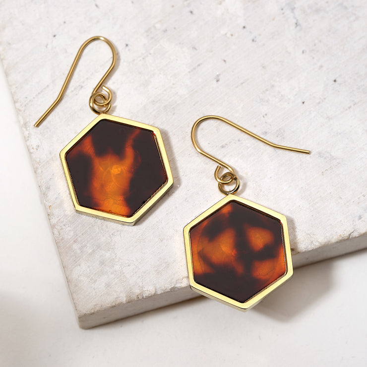 Hexagon Brown Tortoise Drop Earrings Gold Plated Stainless Steel