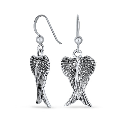Guardian Angel Wings Feather Dangle Earrings Sterling Silver Fish Hook