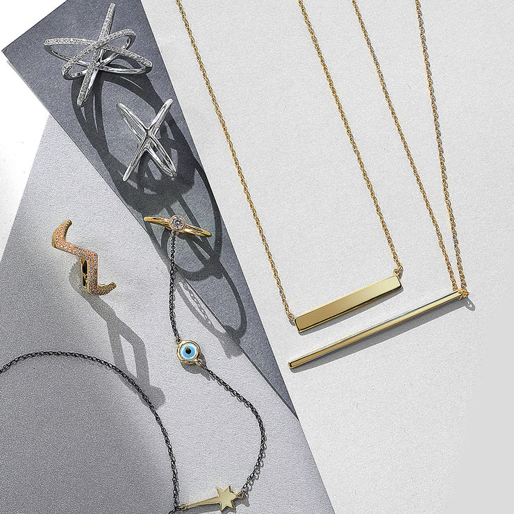 Vertical Flat Bar Pendant Necklace Gold Plated Sterling Silver