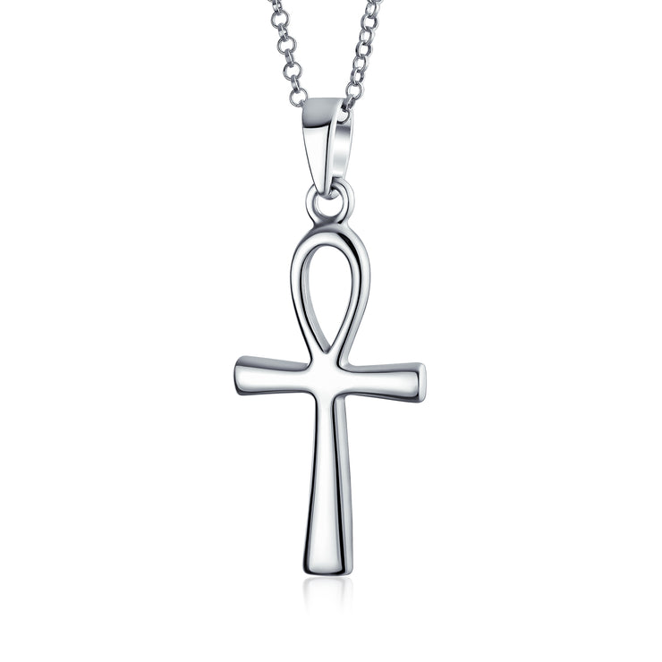 Polished Ankh Egyptian Cross Pendant Sterling Silver Necklace 1 75in