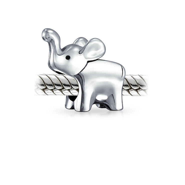 Good Luck Elephant Trunk Up Bead Charm 925 Sterling Silver