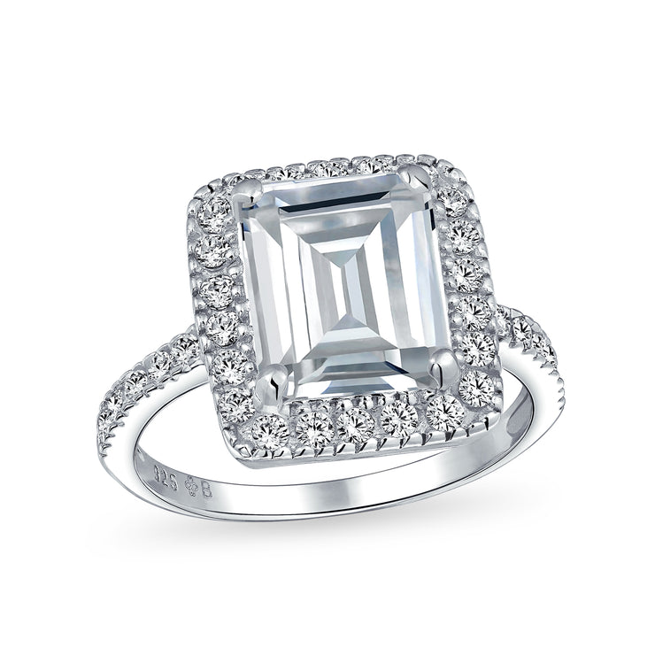 Large Halo Pave 925 Sterling Silver 5CT Emerald Cut Engagement Ring