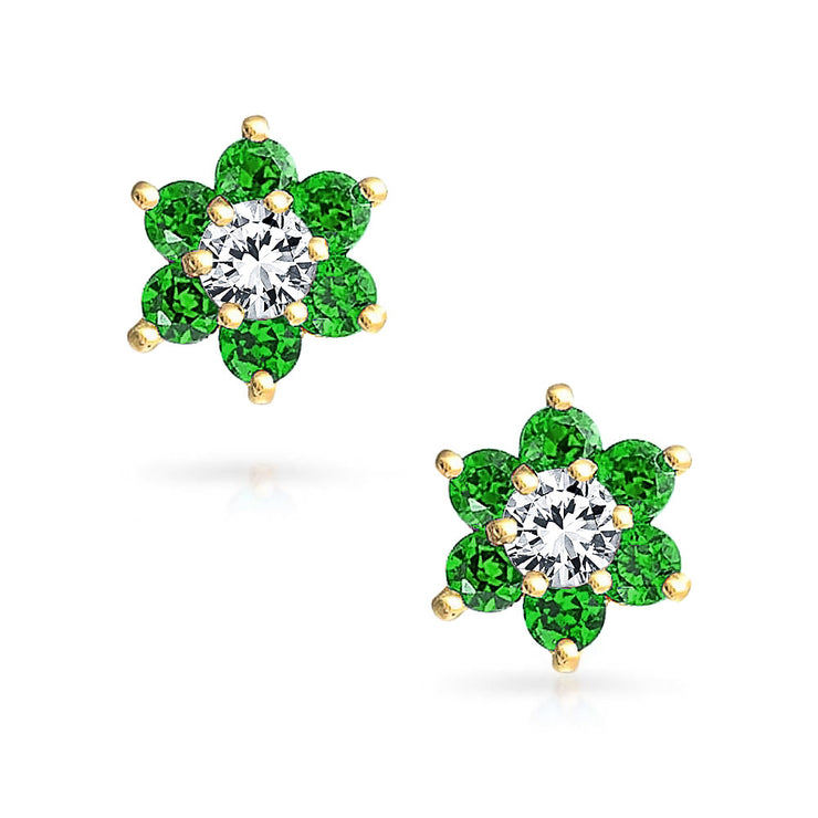 Green CZ Flower Stud Earrings  Simulated Emerald 14K Real Gold Screwback