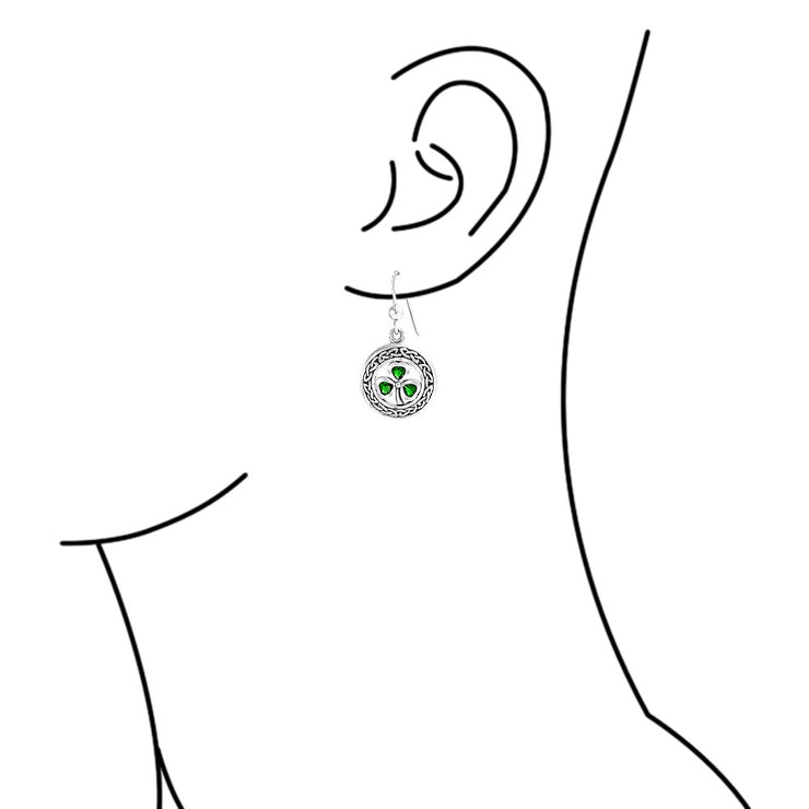 Celtic Clover Green Circle Earring Simulate Emerald Sterling Silver