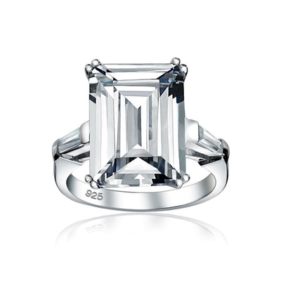 10CT Solitaire AAA CZ 925 Sterling Silver Emerald Cut Engagement Ring