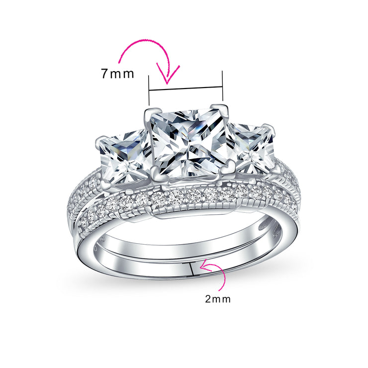 3CT Princess Cut 3 Stone CZ Engagement Wedding Ring Sterling Silver