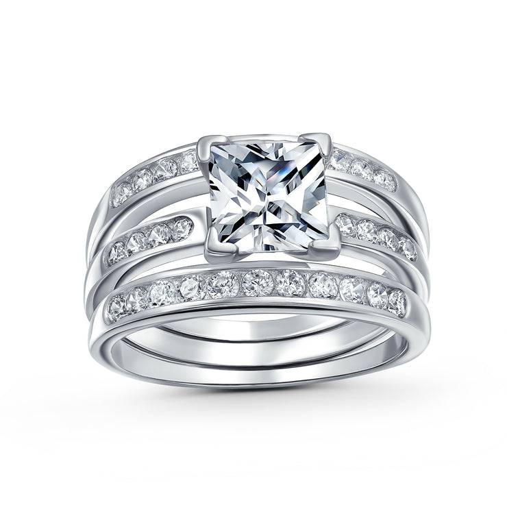 2CT Solitaire Princess Cut AAA CZ Engagement Ring Set Sterling Silver