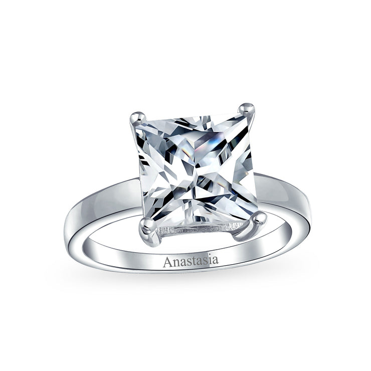 3CT Princess Cut AAA CZ Solitaire Engagement Ring 925 Sterling Silver