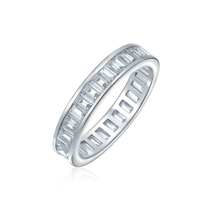 Channel Baguette CZ Eternity Ring Wedding Band 925 Sterling Silver 4mm