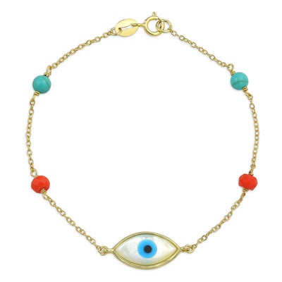 Evil Eye Enhanced Turquoise Coral Bracelet Gold Plated Silver
