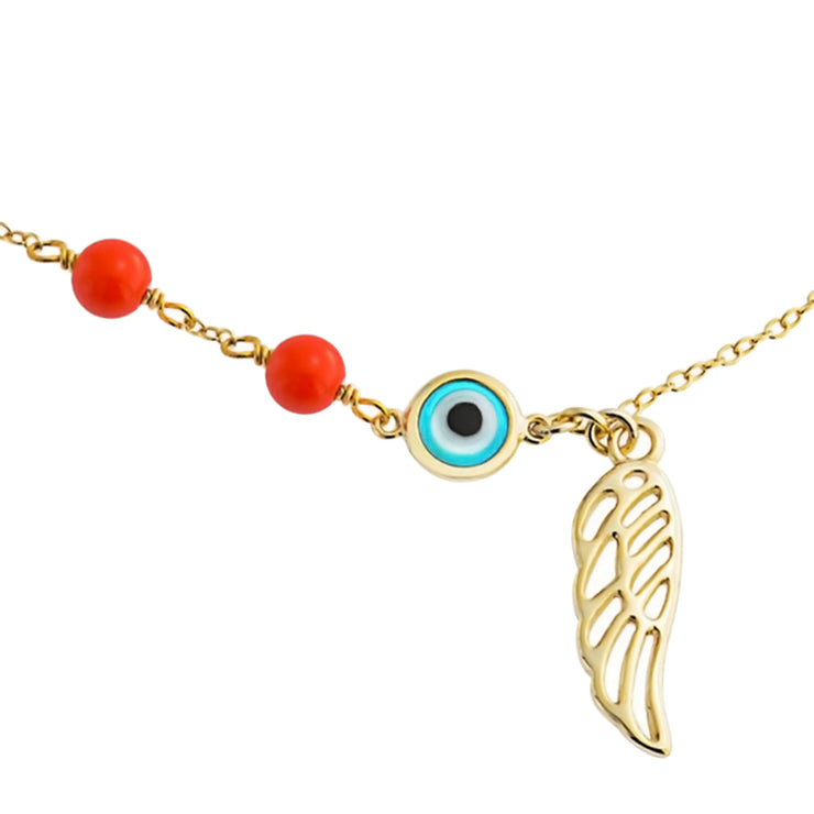 Evil Eye Angel Wing Guardian Anklet Gold Plated Sterling Silver