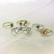 925 Sterling Silver Midi Knuckle 1MM Band Stackable Evil Eye Ring