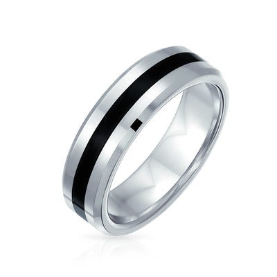 Black Silver Two Tone Stripe Wedding Band Tungsten Ring For Men 6MM