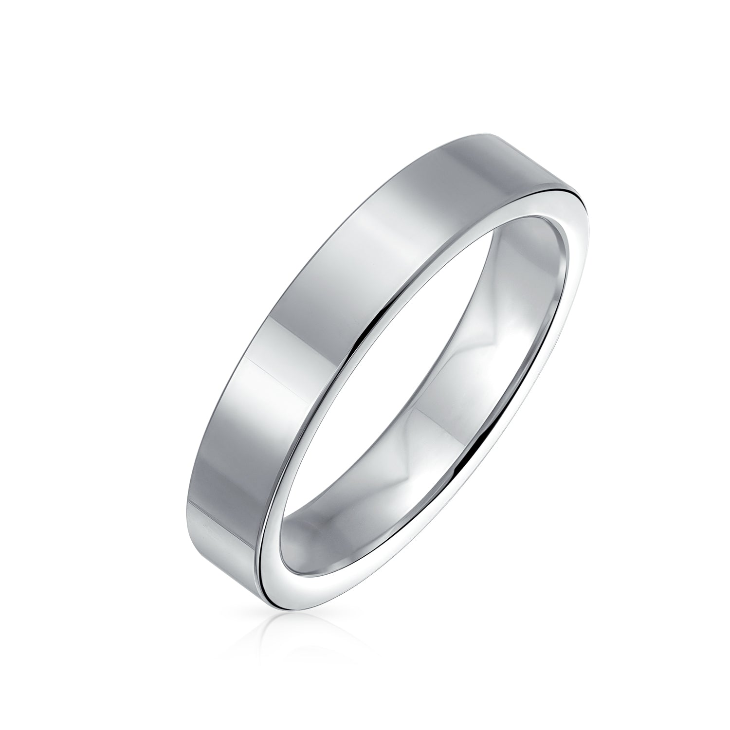 This is a graphic of Flat Cigar Couples Wedding Band Titanium Rings For Men Silver Tone 48MM