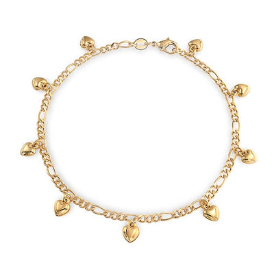 Heart Charms Anklet Figaro Chain 18k Gold Plated 925 Sterling Silver