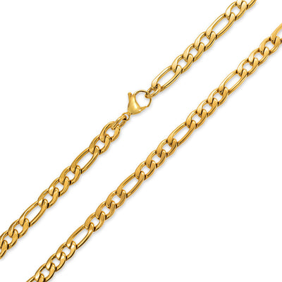 7 MM Gold Tone Stainless Steel Necklace Figaro Chain Men Medium Width
