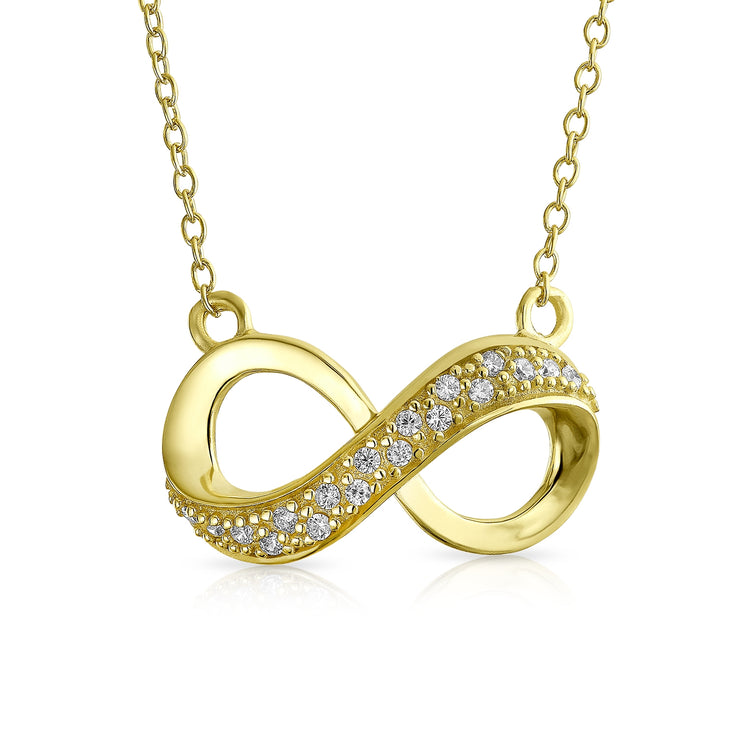 Infinity Forever Love Pendant 14K Gold Plate Sterling Silver Necklace