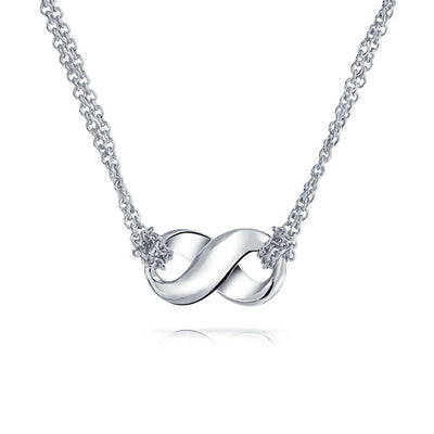 Infinity Love Double Chain Pendant Necklace 925 Sterling Silver