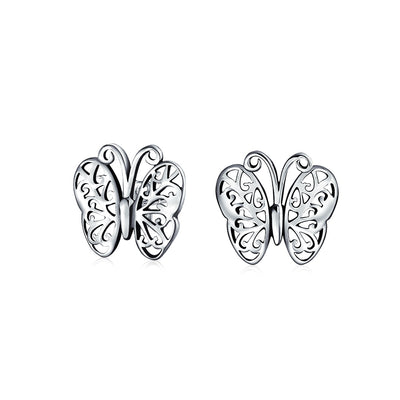Tiny Garden Filigree Butterfly Stud Earrings 925 Sterling Silver