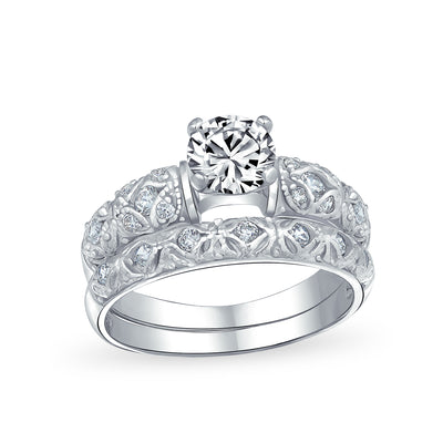 1CT Solitaire AAA CZ Engagement Wedding Band Ring Set Sterling Silver