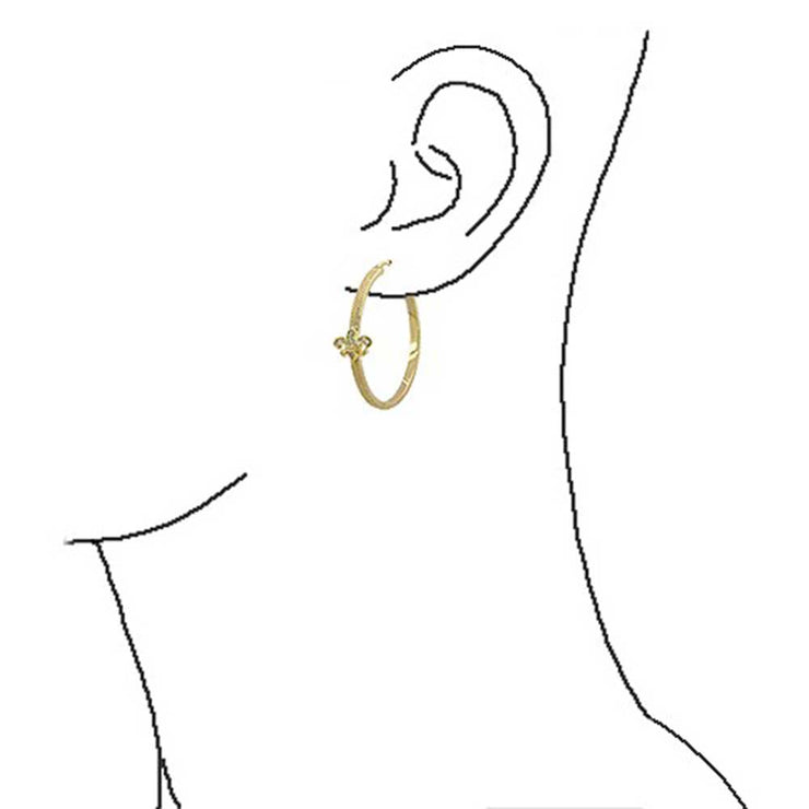 Fleur De Lis Textured Hoop Earrings Pave CZ Textured Gold Plated