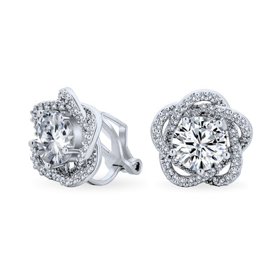 Bridal Rose CZ Flower Clip On Earrings Non Pierced Ears Silver Plated
